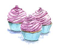 Hand drawn set of watercolor cupcakes on white backgroun. D Stock Photo