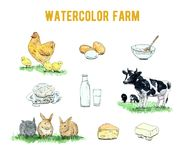 Hand drawn set of watercolor farm products and animals on white. Background Royalty Free Stock Photo