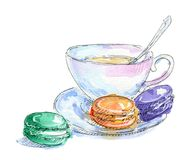 Hand drawn set of watercolor macarons on white Stock Photography