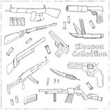 Hand drawn set  of Weapons. Stock Photo