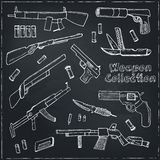 Hand drawn set  of Weapons. Stock Image