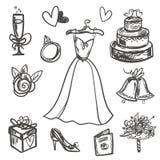 Hand drawn Set of wedding accessories. Stock Photo