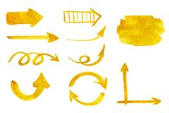 Hand drawn set of yellow arrows of various size and shape vector illustration