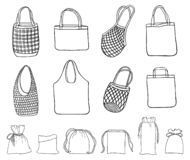 Hand drawn set zero waste cloth bags for shopping vector illustration