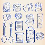 Hand Drawn Sewing Icon Set Stock Photos
