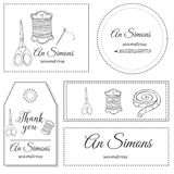 Hand drawn sewing Identity logo Stock Image