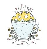 Hand Drawn Sewing Vector Pin Cushion Tea Cup royalty free stock photography