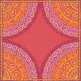 Hand drawn  shabby ethnic frame in orange  tones Stock Image