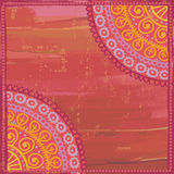 Hand drawn  shabby ethnic frame in red and orange  tones Stock Images