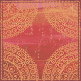 Hand drawn  shabby ethnic frame in red tones Stock Image