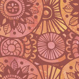Hand drawn shabby mandalas vintage seamless patten Stock Photo