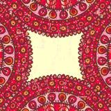 Hand drawn shabby red ethnic frame Stock Photos