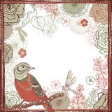 Hand drawn  shabby vintage  frame with bird Royalty Free Stock Photo