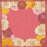 Hand drawn  shabby vintage  roses frame Stock Photography
