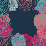 Hand drawn  shabby vintage  roses frame in dark blue Royalty Free Stock Image