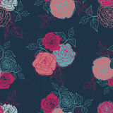 Hand drawn  shabby vintage  roses seamless pattern in dark blue Stock Image