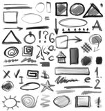 Hand drawn shapes, circle, square, triangle Royalty Free Stock Photo