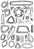 Hand drawn shapes, circle, square, triangle Stock Image