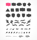Hand drawn shapes, icons, elements and hearts Stock Image