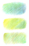 Hand drawn shapes made with color pencils, hatched in gradient style in different shades of green and blue. Colorful bright stock photos