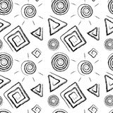 Hand drawn shapes on white, seamless pattern Royalty Free Stock Photo