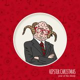 Hand drawn sheep man. Hipster Christmas greeting. Card. Vector illustration royalty free illustration
