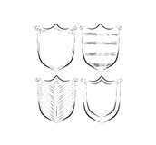 Hand drawn shields, badges and banners Stock Images