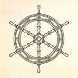 Hand drawn ship wheel. Stock Photo
