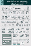 Hand drawn shopping & commerce icons set. Hand drawn vector shopping and e-commerce icons set for website design Royalty Free Stock Images