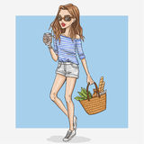Hand drawn shopping girl illustration Stock Image