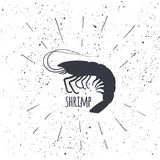 Hand drawn shrimp icon logo in black and white color with textured background. Design element for emblem, menu, logo. Label, sign, brand mark - vector Stock Photos