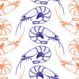 Hand drawn shrimp seamless pattern. On a white background Stock Photos