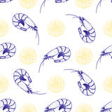 Hand drawn shrimps and lemon seamless pattern Stock Photography