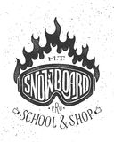 Snowboard Goggles Sign. Hand drawn sign with burning ski goggles. Snowboard school and shop badge. Grunge texture effect, handwritten lettering. Vector extreme Stock Photo