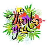 Hand drawn sign Thank you on bright tropic flowers background in grunge watercolor style Stock Photo