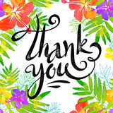 Hand drawn sign Thank you in bright tropic flowers frame in grunge watercolor style Royalty Free Stock Photo