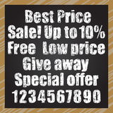 Hand-drawn signboard with chalk inscriptions vector set Stock Photography