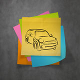 Hand drawn of silhouette of car Royalty Free Stock Image