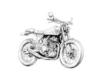 Hand drawn sketch classic motorcycle. Vector illustration design concept. Hand drawn silhouette sketch classic motorcycle. Vector illustration design concept Royalty Free Stock Photo