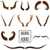 Hand drawn silhouettes collection, set of animal horns. Stock Images