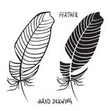 Hand drawn silhouettes of feathers in black and white. Vector illustration Stock Photos