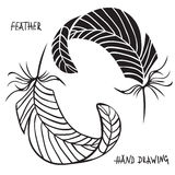 Hand drawn silhouettes of feathers in black and white. Vector illustration Stock Image