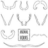 Hand drawn silhouettes set of animal horns. Made in vector. Deer, sheep, antelope, bullock horns background royalty free illustration