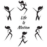 Hand Drawn silhouettes of women. With slogan Life is Motion Royalty Free Stock Photography