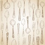 Hand drawn silverware icons seamless pattern. Royalty Free Stock Image