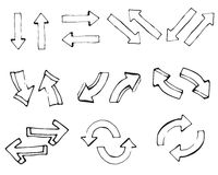 Hand drawn simple arrows set made in vector Royalty Free Stock Photography