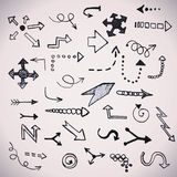 Hand drawn simple arrows set made in vector Royalty Free Stock Photos