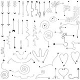 Hand drawn simple arrows set made in vector. Royalty Free Stock Photos