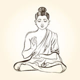 Hand drawn sitting Buddha in meditation. Sketch for ritual tatto Royalty Free Stock Photo