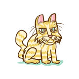Hand drawn Sitting cat with yellow stripes. Hand drawn illustration of a sitting cat with yellow stripes and green eyes and pink nose and ears stock illustration